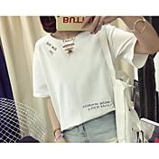 レディース カジュアル/普段着 夏 Tシャツ,キュート ラウンドネック ソリッド コットン 半袖
