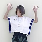 レディース カジュアル/普段着 Tシャツ,シンプル ラウンドネック プリント カラーブロック コットン 半袖