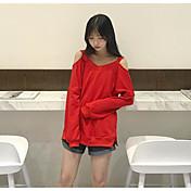 Mujer Sudadera Noche Un Color Escote Redondo Eslático Algodón Manga Larga Otoño