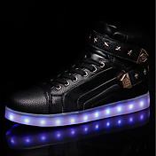 Hombre Zapatos PU Primavera Otoño Zapatos con luz Zapatillas de deporte Con Cordón LED Para Casual Blanco Negro Rojo