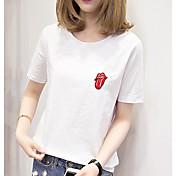 Mujer Simple Casual/Diario Camiseta,Escote Redondo Estampado Manga Corta Algodón Otro