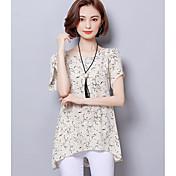 Mujer Simple Casual/Diario Blusa,Escote Redondo Estampado Manga Corta Algodón