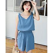 Mujer Simple Casual/Diario Verano T-Shirt Pantalón Trajes,Escote en Pico Un Color Sin Mangas