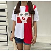 レディース お出かけ Tシャツ,シンプル ラウンドネック ソリッド プリント コットン 半袖