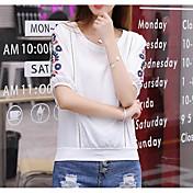 レディース お出かけ カジュアル/普段着 夏 Tシャツ,キュート ラウンドネック 刺繍 コットン 半袖 ミディアム