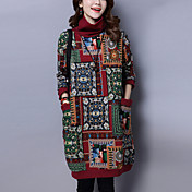 Mujer Corte Ancho Vestido Noche Casual/Diario Tejido Oriental,Estampado Cuello Alto Sobre la rodilla Manga Larga Algodón Lino Otoño
