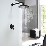 コンテンポラリー シャワーシステム レインシャワー セラミックバルブ シングルハンドルつの穴 ブラック, シャワー水栓