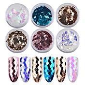 6色のダイヤモンドレーザーカラフルなスパンコール1g /ボックス