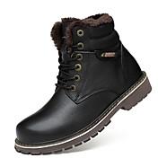 Hombre Zapatos Cuero real Cuero de Napa Cuero Invierno Botas de nieve Botas de Moda Botas de Moto Botas hasta el Tobillo Forro de pelusa