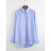 レディース 祝日 カジュアル/普段着 秋 シャツ,シンプル レギュラーカラー ストライプ コットン 長袖 薄手