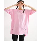 Mujer Simple Noche Casual/Diario Verano Camiseta,Escote Redondo Un Color Manga Corta Algodón Medio