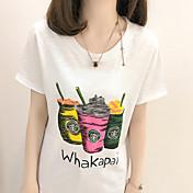 Mujer Bonito Noche Verano Camiseta,Escote Redondo Estampado Manga Corta Otro Opaco