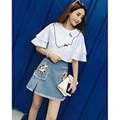 Mujer Simple Casual/Diario Verano Blusa Falda Trajes,Escote Redondo Un Color Estampado Manga Corta Microelástico