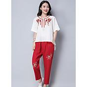 レディース カジュアル/普段着 夏 Tシャツ(21) パンツ スーツ,シンプル ラウンドネック 刺繍 ハーフスリーブ