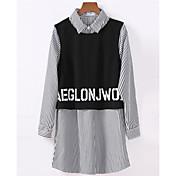 レディース カジュアル/普段着 シャツ,シンプル シャツカラー レタード コットン 長袖