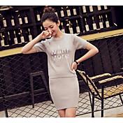 レディース お出かけ 夏 Tシャツ(21) スカート スーツ,シンプル ラウンドネック プリント 半袖