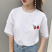 レディース カジュアル/普段着 Tシャツ,シンプル ラウンドネック プリント その他 半袖