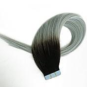 cinta en extensiones del pelo extensiones del pelo humano negro al gris dos tonos sedoso piel recta de la trama humana pelo remy verdadero