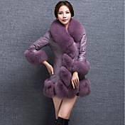 Mujer Simple Tejido Oriental Noche Casual/Diario Invierno Abrigo de Piel,Escote Redondo Un Color Manga Larga Piel Sintética Largo