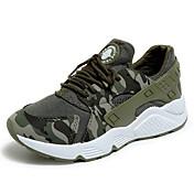 Mujer Zapatos Cuero de Napa Otoño Confort Zapatillas de Atletismo Running Tacón Plano Dedo redondo Con Cordón para Al aire libre Negro