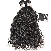 人毛 インディアンヘア 人間の髪編む ウォーターウェーブ ヘアエクステンション 3個 ブラック