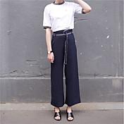 Mujer Casual Chic de Calle Tiro Alto Rígido Corte Ancho Perneras anchas Chinos Pantalones,Un Color Otoño