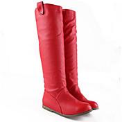 Feminino Sapatos Couro Ecológico Outono Inverno Botas da Moda Botas Salto Grosso Ponta quadrada Botas Cano Médio Para Casual Branco Preto