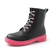 レディース 靴 レザーレット 春 秋 コンフォートシューズ ブーツ ラウンドトウ 用途 ドレスシューズ ブラック
