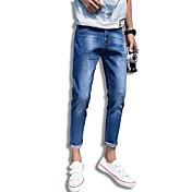 Hombre Casual Tiro Medio Microelástico Ajustado Corte Ancho Vaqueros Pantalones,Un Color Otoño