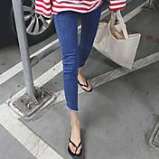 Mujer Casual Tiro Alto Microelástico Ajustado Pantalones,Un Color Poliéster Otro Primavera