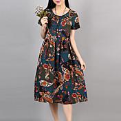 Mujer Clásico Corte Ancho Vestido - Estilo clásico Estampado, Multicolor Impresiones Reactivas Midi