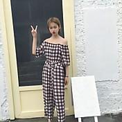 Mujer Sencillo Tiro Alto Microelástico Chinos Pantalones,Corte Ancho Cuadrícula