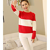 Mujer Regular Pullover Noche Bloques Escote Redondo Manga Larga Algodón Primavera Invierno Medio Microelástico