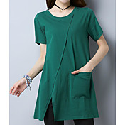 Mujer Vintage Simple Noche Camiseta,Escote Redondo Un Color Manga Corta Algodón