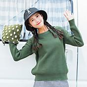 Mujer Regular Pullover Casual/Diario Un Color Escote Redondo Manga Larga Algodón Acrílico Otoño Invierno Medio Microelástico