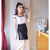 レディース セクシー クラブ ボディコン ドレス,ソリッド ラウンドネック 膝上 半袖 シルク 夏 ミッドライズ マイクロエラスティック 薄手