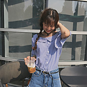 Mujer Simple Casual/Diario Camisa,Escote Redondo A Rayas Manga Corta Algodón