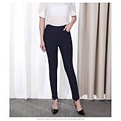 Mujer Casual Tiro Alto Microelástico Ajustado Pantalones,Un Color Primavera Otoño