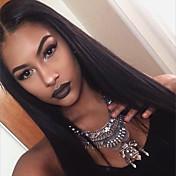 Mujer Pelucas de Cabello Natural Brasileño Cabello humano Encaje Frontal 130% Densidad Corte a capas Con mechones Liso Peluca Negro