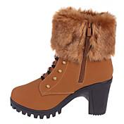 Mujer Zapatos PU Otoño Invierno Botas de Moda Botas hasta el Tobillo Botas Dedo redondo Botines/Hasta el Tobillo Hebilla Para Vestido