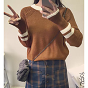 Mujer Regular Pullover Casual/Diario Tallas Grandes Bloques Cuello Barco Manga Larga Otro Primavera Invierno Medio Microelástico