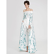 Corte en A Hombros Caídos Hasta el Suelo Satén Evento Formal Vestido con Bordados Plisado por TS Couture®