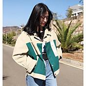 レディース カジュアル/普段着 秋 ジャケット,シンプル シャツカラー カラーブロック レギュラー その他 長袖