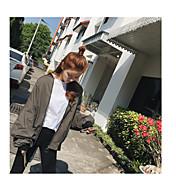 レディース カジュアル/普段着 秋 トレンチコート,シンプル ラウンドネック プリント レギュラー コットン 長袖