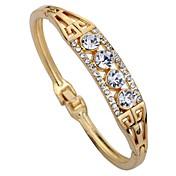 女性用 カフブレスレット 合成ダイヤモンド 幾何学形 ラインストーン 合金 円形 ジュエリー 用途 日常 舞台