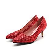 レディース 靴 レザーレット 春 秋 コンフォートシューズ ヒール スティレットヒール ポインテッドトゥ 用途 結婚式 ドレスシューズ ゴールド シルバー レッド