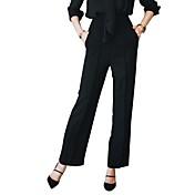 Mujer Casual Tiro Medio Rígido Perneras anchas Empresa Pantalones,Un Color Otoño