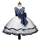 Salón Princesa Hasta la Rodilla Vestido de Niña Florista - Encaje Satén Sin Mangas Joya con Lazo(s) Encaje por Bflower