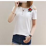 レディース カジュアル/普段着 Tシャツ,シンプル ボートネック 刺繍 コットン 半袖