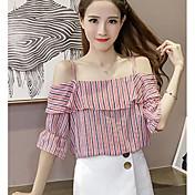 Mujer Simple Casual/Diario Verano Camiseta,Escote Barco A Rayas Sin Mangas Licra